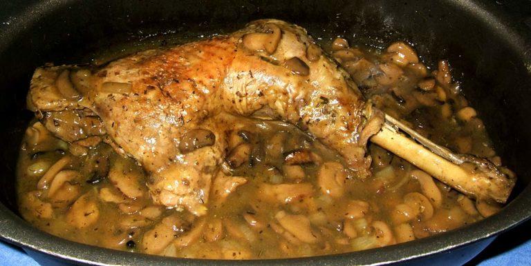 Un bon plat de cuisse de dinde forestière